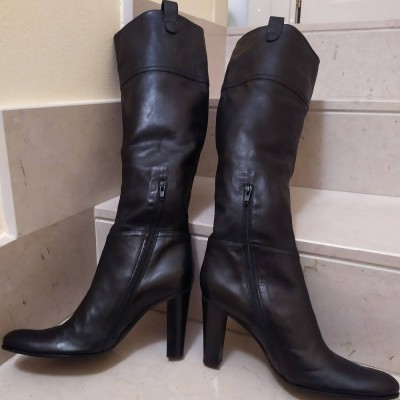 Stivali al ginocchio donna in pelle di vacchetta Julie Dee - SGD 001-Italianfashionglam