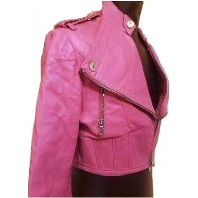 Chiodo fashion D'Arienzo da donna in pelle fuxia GIUD 001Italianfashionglam