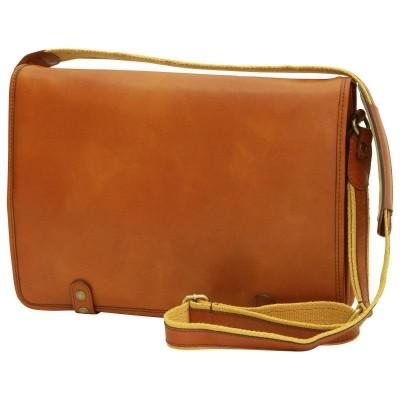 Borsa luxury messenger uomo in pelle Tury IFG 03130 miele Italianfashionglam