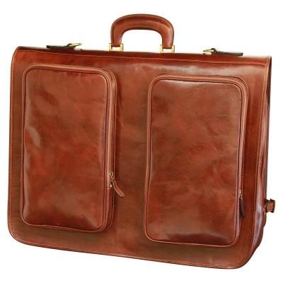 Porta abiti elegante in vera pelle luxury Atene IFG 00120 marrone Italianfashionglam
