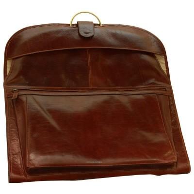 Porta abiti elegante in vera pelle luxury Haiti IFG 00080 marrone Italianfashionglam
