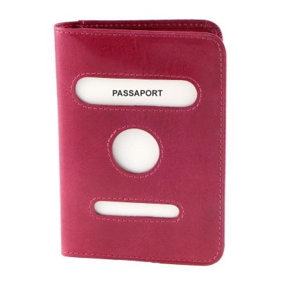 Porta passaporto luxury in vera pelle The World IFG 07100 fuxia Italianfashionglam