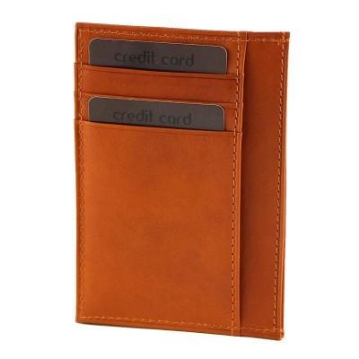 Porta carte di credito chic in vera pelle Nizza IFG 07038 arancio Italianfashionglam