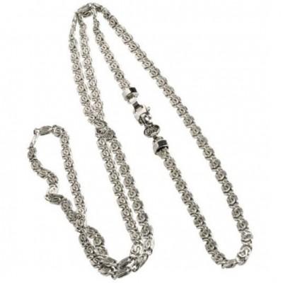 Collana lunga in argento da donna a maglia lumachina CO011 Italianfashionglam
