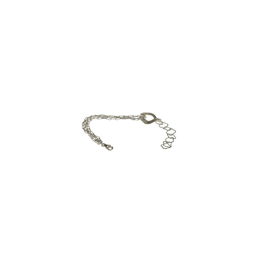 Bracciale trendy da donnaa catenelle d'argento satinato-Italianfashionglam-