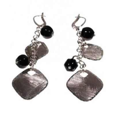 Orecchini da donna in argento con pendenti in onice nero-Italianfashionglam