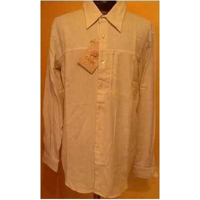 CAMICIA-UOMO-CASUAL-COTONE-COLOR-BEIGE-MANICA-LUNGA-CIESSE-MADE-IN-ITALY-