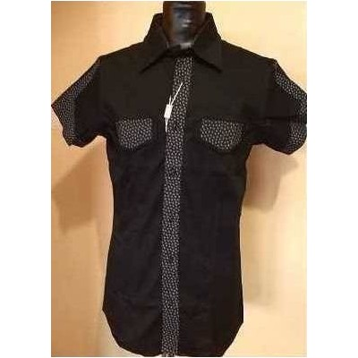 CAMICIA-UOMO-CASUAL-MANICA-CORTA-COTONE-COLOR-NERO-THEATRE-MADE-IN-ITALY-