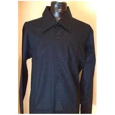 CAMICIA-UOMO-CASUAL-COTONE-COLOR-NERO-MANICA-LUNGA-TENDENZA-THEATRE-MADE-IN-ITALY-