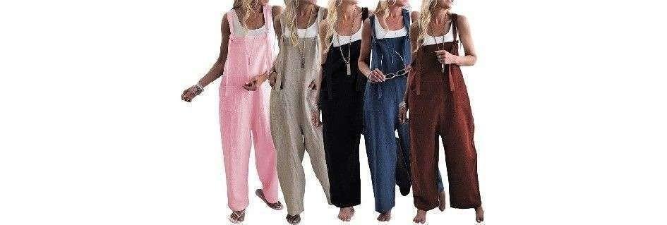 Collezione di salopette denim donna,modelli fashion di tendenza originali multi tasca,oggetti di punta nella moda femminile,adatte in ogni circostanza casual,disponibili in varie taglie nei colori blue jeans o nero.